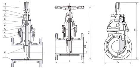 暗杆弹性座封闸阀结构示意图